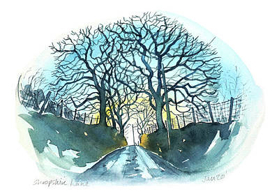 Black And White Ink Illustrations - Shropshire Lane by Luisa Millicent