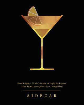 Digital Art - Sidecar Cocktail - Classic Cocktail Print - Black and Gold - Modern, Minimal Lounge Art  by Studio Grafiikka