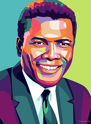 Curated Round Beach Towels - Sidney Poitier by Stars on Art