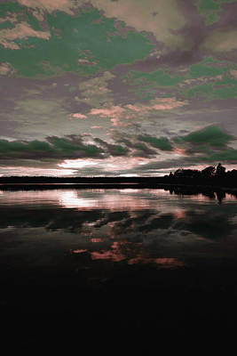 Surrealism Royalty Free Images - Silhouette of Trees Near Body of Water Under Cloudy Sky during Sunset - Surreal Art by Ahmet Asar Royalty-Free Image by Celestial Images