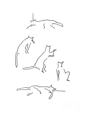 Drawings Royalty Free Images - Silhouettes Of Cats Royalty-Free Image by BlackLineWhite Art