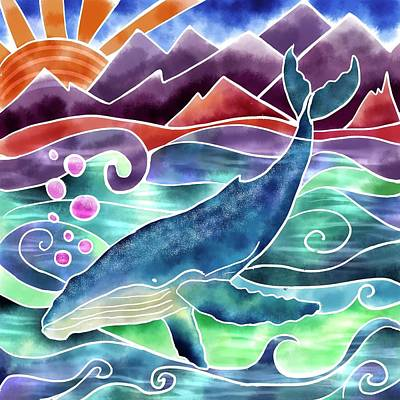 Photograph - Silk paint humpback whale by Isabella Biava