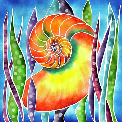Photograph - Silk painted Nautilus by Isabella Biava