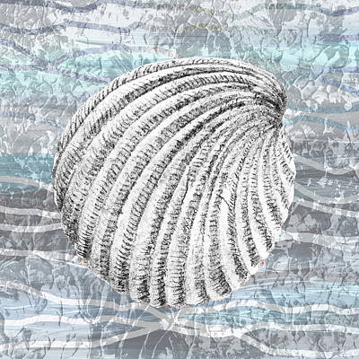 Royalty-Free and Rights-Managed Images - Silver Gray Seashell On Ocean Shore Waves And Rocks II by Irina Sztukowski