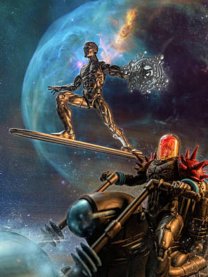 Digital Art - Silver Surfer and Cosmic Ghost Rider Marvel Legends by SportsHype Art
