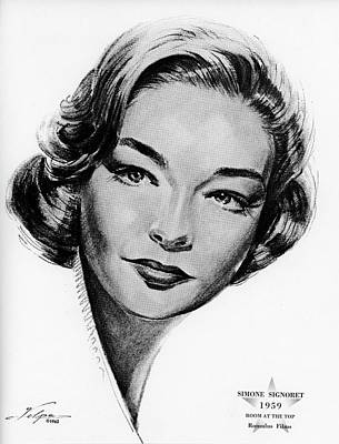 Drawings Royalty Free Images - Simone Signoret by Volpe Royalty-Free Image by Stars on Art