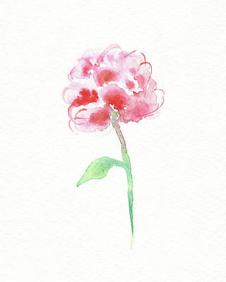 Popstar And Musician Paintings - Simple Grace Beautiful Botanical Watercolor Pink Peony Flower I by Irina Sztukowski