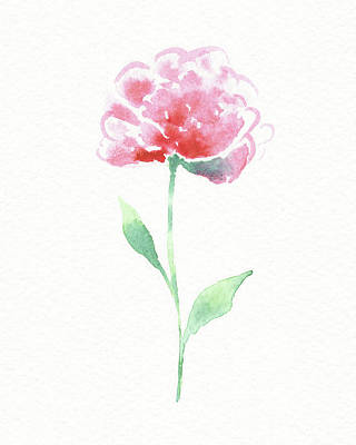 Popstar And Musician Paintings - Simple Grace Beautiful Botanical Watercolor Pink Peony Flower II by Irina Sztukowski