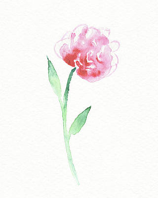 Popstar And Musician Paintings - Simple Grace Beautiful Botanical Watercolor Pink Peony Flower III by Irina Sztukowski