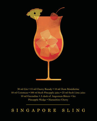 Digital Art - Singapore Sling Cocktail - Classic Cocktail Print - Black and Gold - Modern, Minimal Lounge Art  by Studio Grafiikka