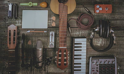 Photograph - Singer, Songwriter, Home Recording And Music Producer Flat Lay Concept. by Giuseppe Lombardo