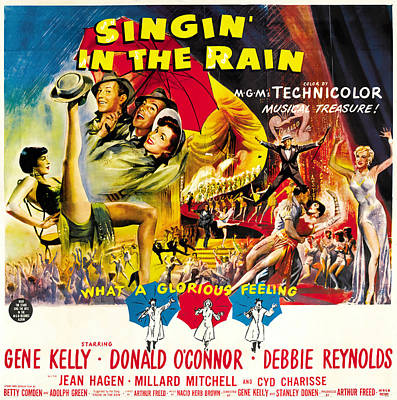 Mixed Media Royalty Free Images - Singin in the Rain, with Gene Kelly, 1952 Royalty-Free Image by Stars on Art