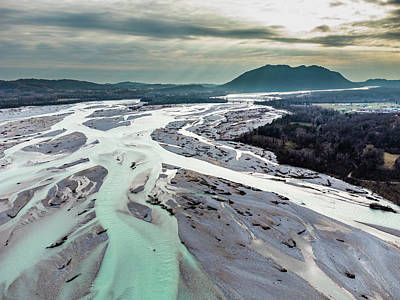 Surrealism Royalty Free Images - Sinuosity of the Tagliamento river Royalty-Free Image by Nicola Simeoni