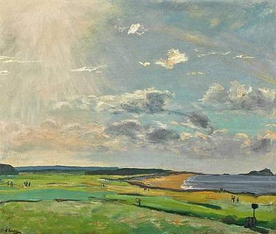 Sports Royalty-Free and Rights-Managed Images - Sir John Lavery RA RSA RHA 1856 1941 THE GOLF COURSE NORTH BERWICK 1922 by Artistic Rifki