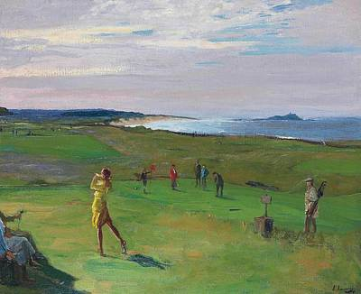 Sports Royalty-Free and Rights-Managed Images - Sir John Lavery RA RSA RHA 1856 1941 The Golf Course North Berwick by Artistic Rifki