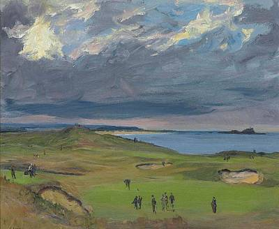 Sports Royalty-Free and Rights-Managed Images - Sir John Lavery RA RSA RHA 1856 1941 The Golf Links North Berwick by Artistic Rifki