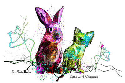 Graduation Hats Royalty Free Images - Sir Twiddledee And Little Lord Chiwowow Royalty-Free Image by Miki De Goodaboom