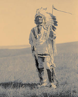 Photograph - Sitting Bear, Arikara Chief, Indian Chief, North American Indian, Toned Dry Brush Style by Edward Curtis
