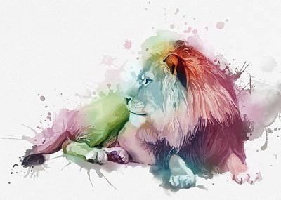 Animals Digital Art - Sitting Lion Colorful by Bekim M