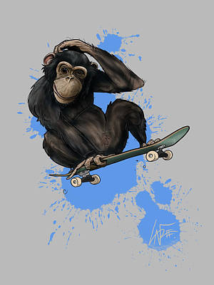 The Beach House - Skater Chimp by Canine Caricatures Custom Merchandise