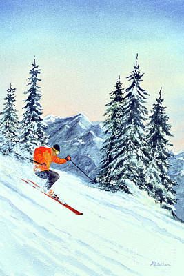 Sports Paintings - Skiing The Clear Leader by Bill Holkham