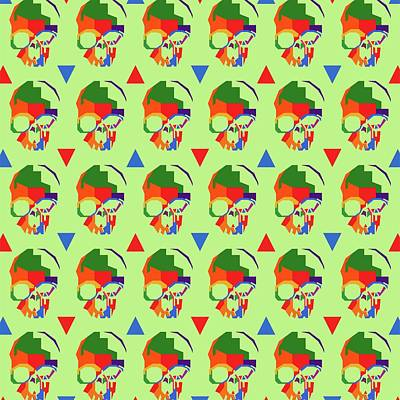 Royalty-Free and Rights-Managed Images - Skull Pattern Wpap Style Light green Background by Ahmad Nusyirwan