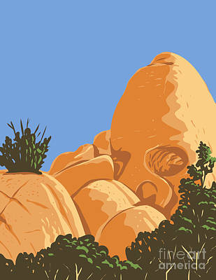 Thomas Kinkade - Skull-Shaped Desert Granite Rock Formation Created by Erosion Known as Skull Rock Located in Joshua Tree National Park in California WPA Poster Art by Aloysius Patrimonio