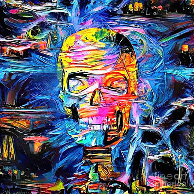 Surrealism Digital Art - Skull surrounded by magic lights by Bruce Rolff