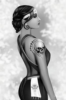 Digital Art - Skully by Real Life Print