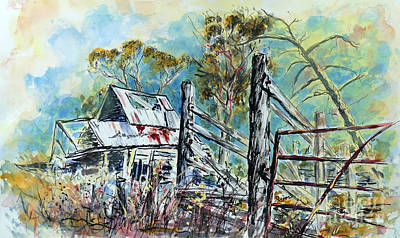 Painting - Slaughter yard Road, Ramshackle Stock Yard, Clunes. by Ryn Shell