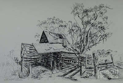 Painting - Slaughterhouse Road, Old Building, Clunes. by Ryn Shell
