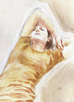 Painting - Sleeping wife by Hans Egil Saele