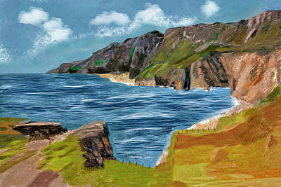 Coy Fish Michael Creese Paintings - Slieve League Donegal Ireland Irish Landscape  by Kieran Gallagher
