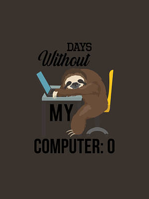 Animals Digital Art - Sloth Computer Gaming Coding Programming Funny by Duong Ngoc son