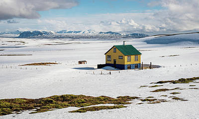 Photograph - Small cottage house in snow in Reykjanes in winter in Iceland by Michalakis Ppalis