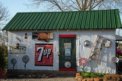 Red Roses - Small garage at Garys Gay Parita on Historic Route 66 in Ash Grove Missouri by Eldon McGraw