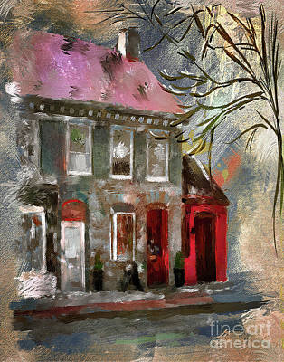 Digital Art - Small Town Shops by Lois Bryan