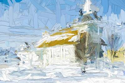 Scifi Portrait Collection - Small White Rural Church, Montana - Abstract Painting by Tatiana Travelways