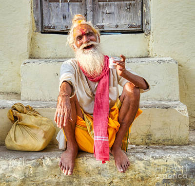Priska Wettstein Land Shapes Series - Smiling Old Holy Man from India by Stefano Senise