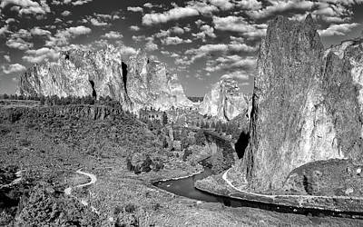 Watercolor Typographic Countries - Smith Rock State Park bw by Jerry Fornarotto