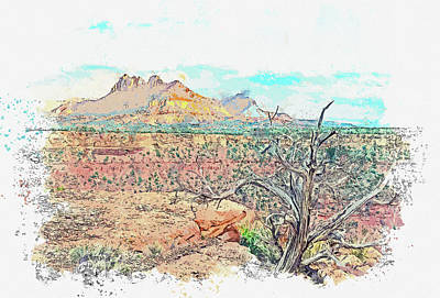 Rowing - Smithsonian Butte Zion National Park Utah in watercolor ca by Ahmet Asar by Celestial Images