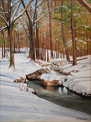 Studio Graphika Literature - Snow at the Sudbury Gristmill Park - Oil on Canvas by Jean-Pierre Ducondi