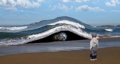 Surrealism Digital Art - Snow Leopard and Beach Surreal by Barroa Artworks