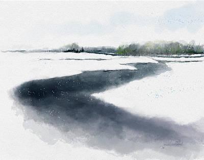 Painting - Snow on Foggy Creek by Steve Lockwood