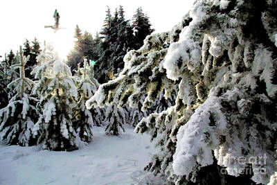 Typographic World Royalty Free Images - Snow Tree Line Royalty-Free Image by Roland Stanke