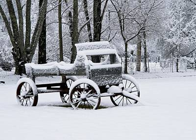 Sheep - Snowbound Buckboard Wagon by Douglas Barnett