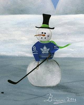 Sports Paintings - Snowman Toronto by Brianna Mulvale