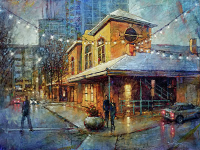 Painting Royalty Free Images - Snowy Celebration at City Market Royalty-Free Image by Dan Nelson