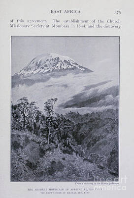 Drawings Royalty Free Images - Snowy dome of Kilimanjaro i1 Royalty-Free Image by Historic illustrations