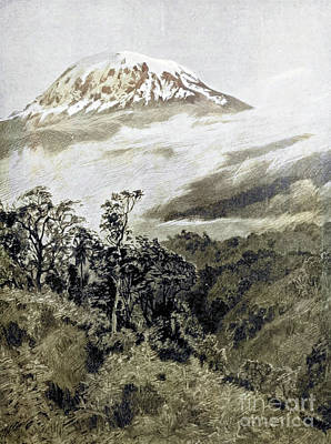Drawings Royalty Free Images - Snowy dome of Kilimanjaro i2 Royalty-Free Image by Historic illustrations